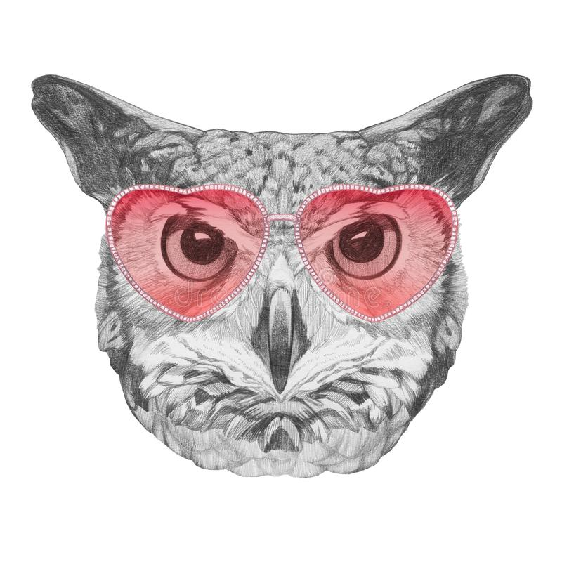 Owl in Love! Portrait of Owl with sunglasses, hand-drawn illustration. Hand drawn illustration of animal stock illustration