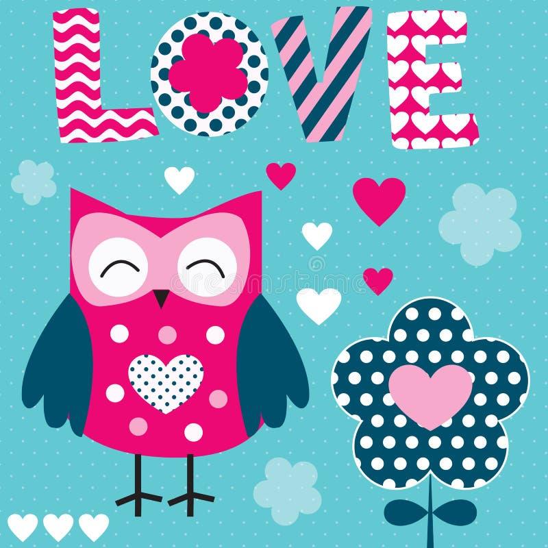Owl love vector illustration stock illustration