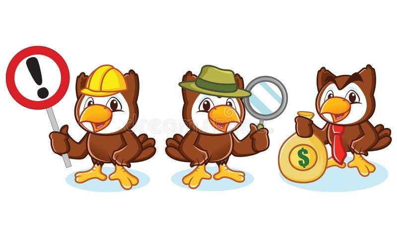 Owl Mascot Vector med pengar vektor illustrationer