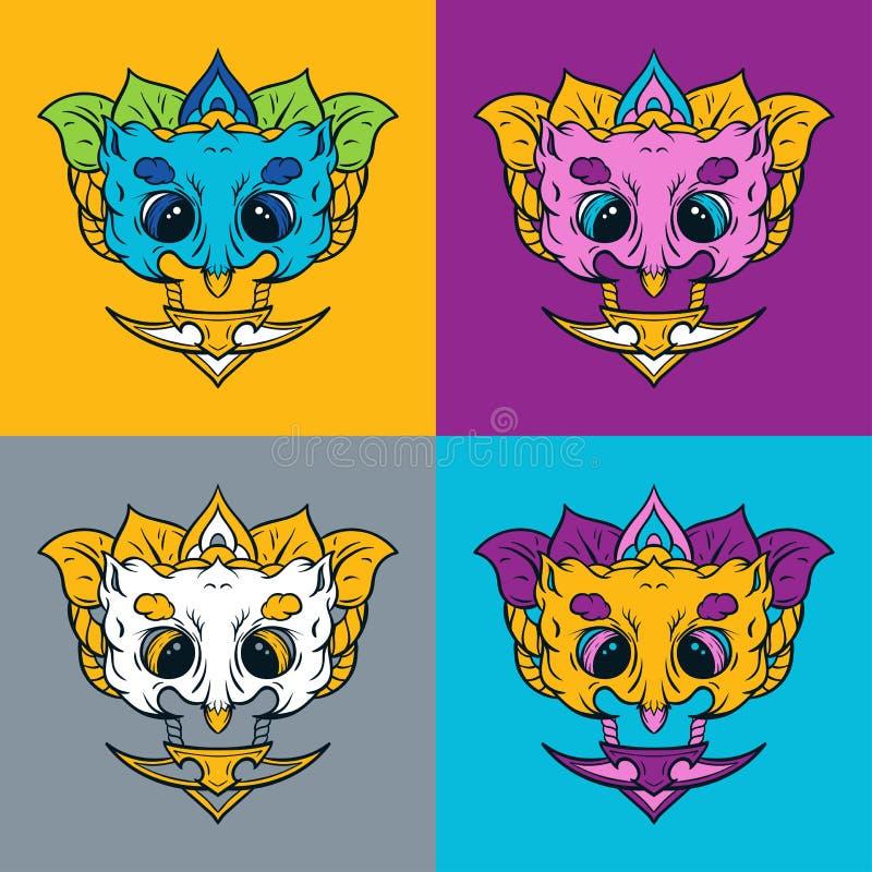 Owl mask. T-shirt print. stock images
