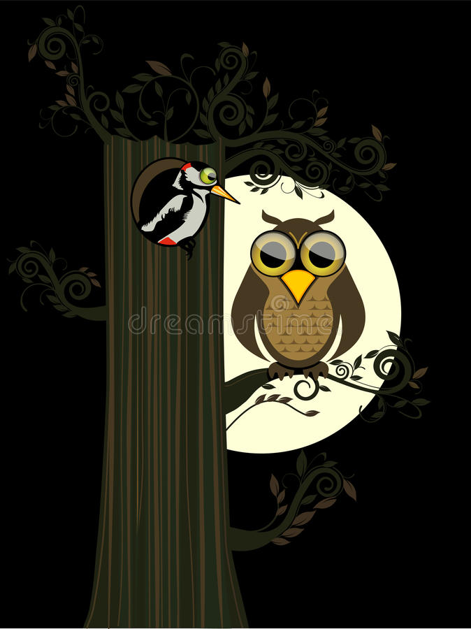 Download Owl and moon stock vector. Image of tree, woodpecker - 21148251