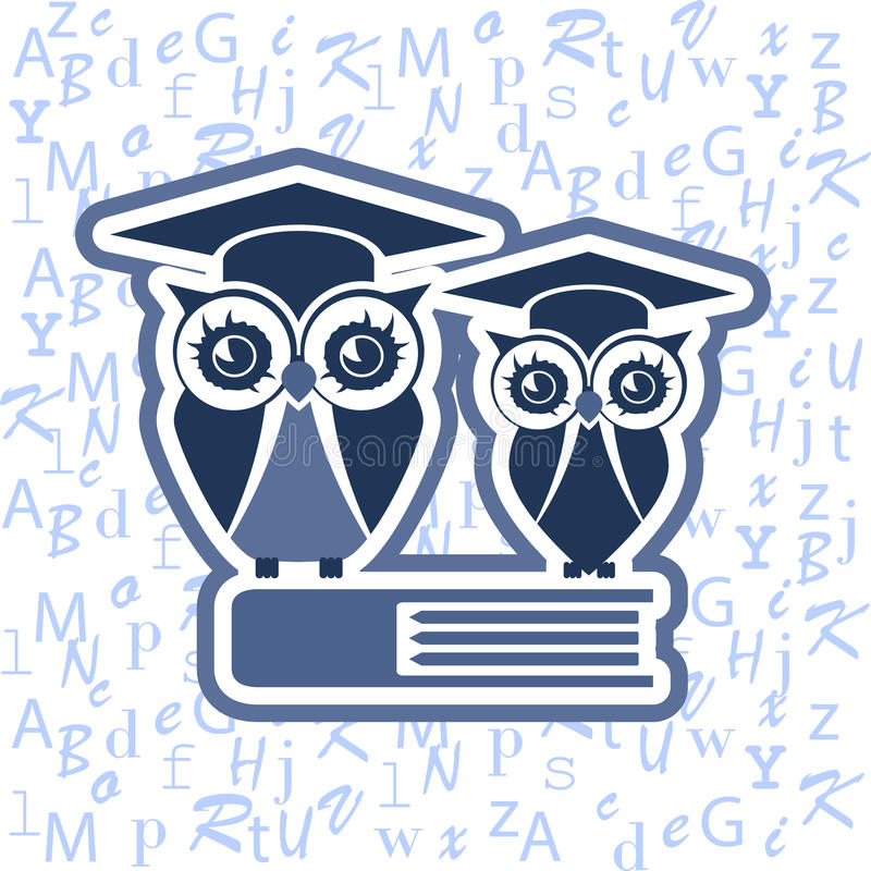 Owl with Mortarboard and book against the blue alphabet stock image