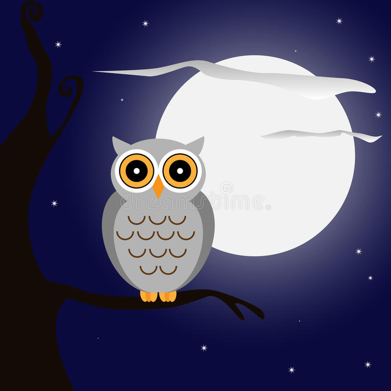 Owl at night. Illustration of an owl on branch at night with full moon.EPS file available