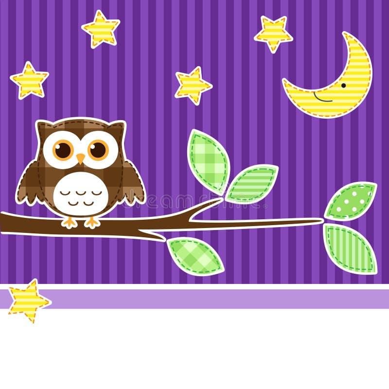 Owl at night stock illustration