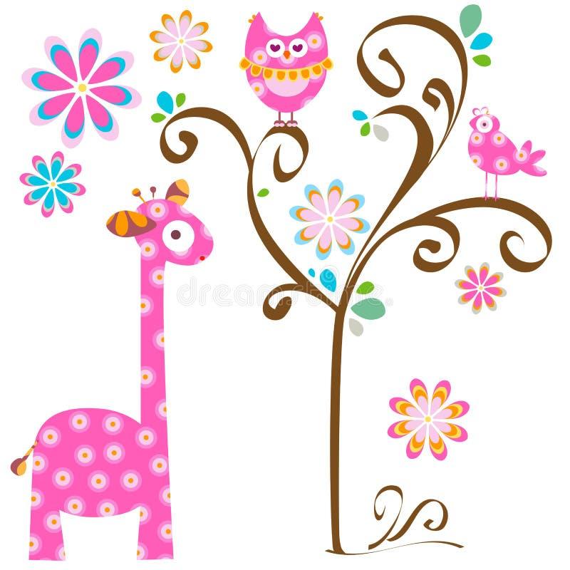 Owl och giraff royaltyfri illustrationer