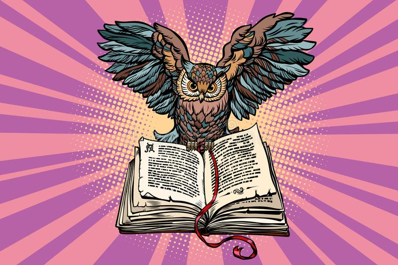 Owl on an old book, a symbol of wisdom and knowledge. Comic book cartoon pop art retro vector illustration stock illustration