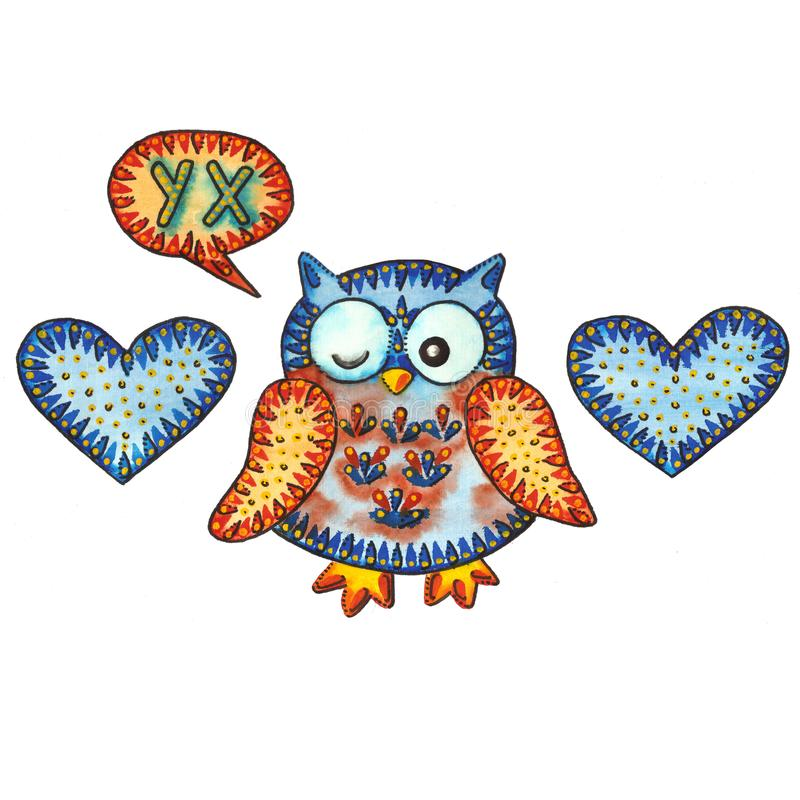 OWL / OOH. A watercolor painting `OWL / OOH`. Watercolor and marker royalty free illustration