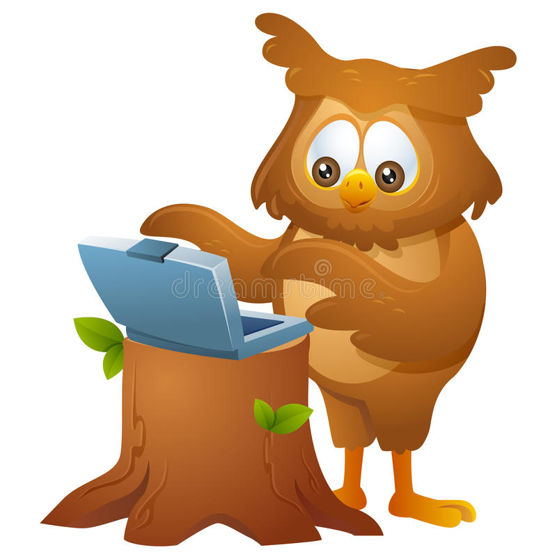Owl - operating a laptop royalty free illustration