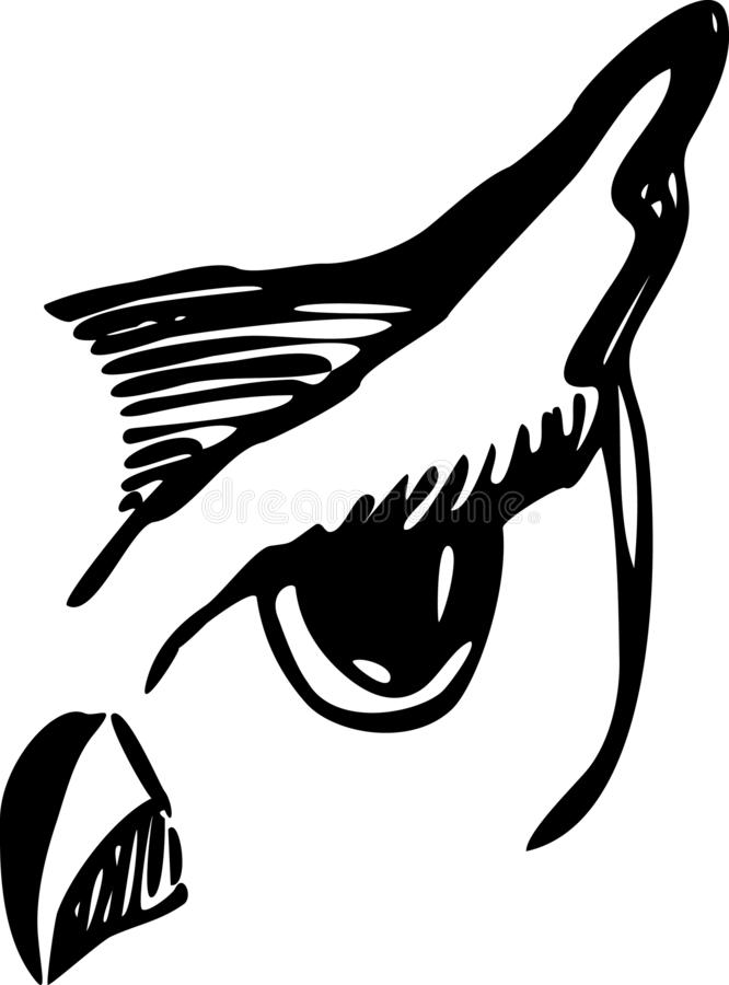 Owl outlined head tattoo style for your project royalty free illustration