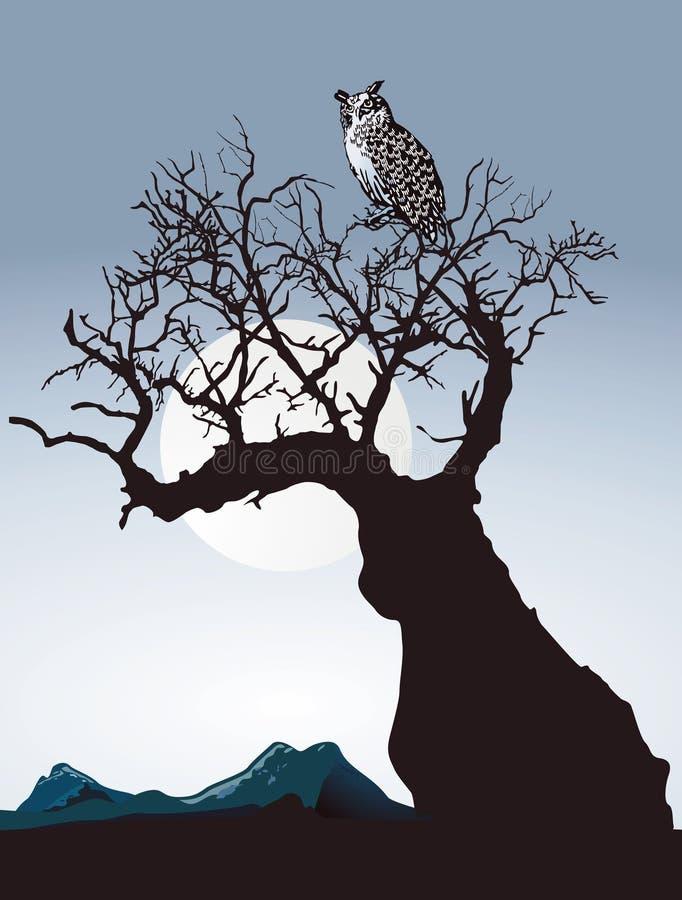 Owl på gammal tree royaltyfri illustrationer