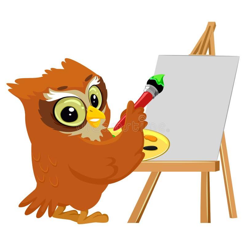 Owl Painting en una lona en blanco ilustración del vector