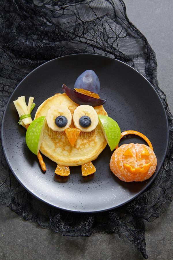 Owl pancakes for Halloween royalty free stock image