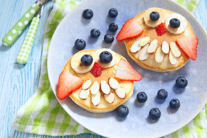 Owl pancakes for kids breakfast royalty free stock photography