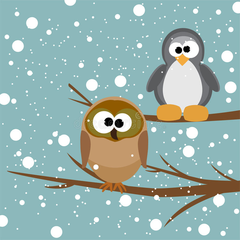 An owl and a penguin on a tree royalty free illustration