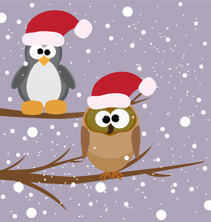 An owl and a penguin on a tree stock illustration