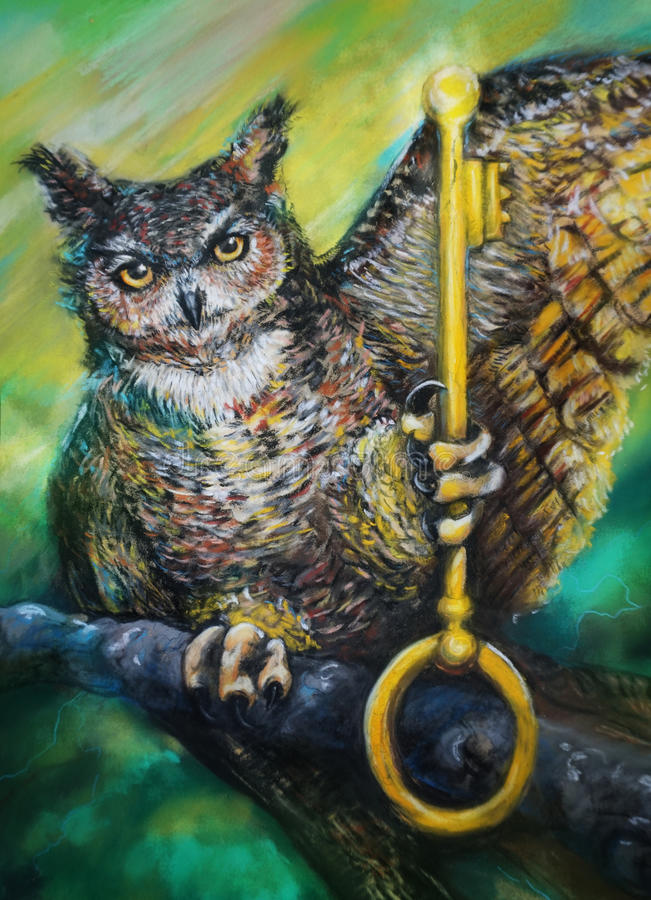 Owl perched on branch holding key stock images