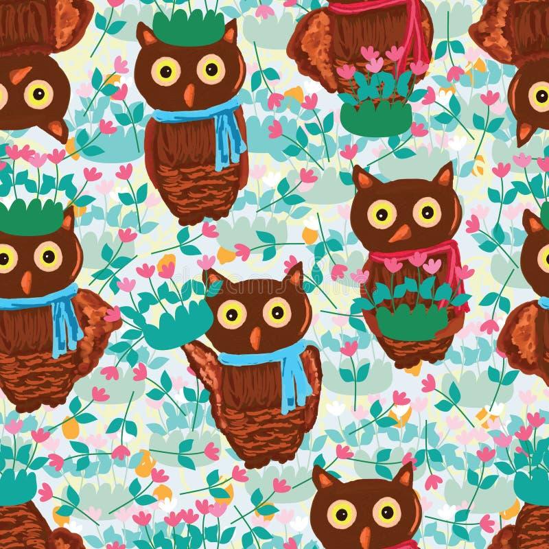 Owl pink green garden seamless pattern stock illustration