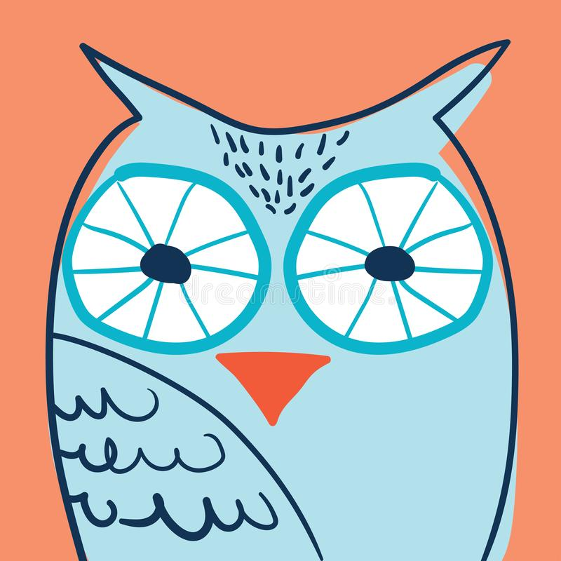 Owl portrait in glasses hand drawn vector illustration