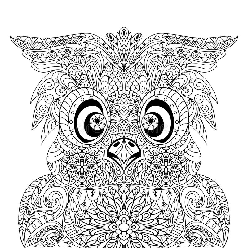 Owl Portrait mandalazentangle royaltyfri illustrationer