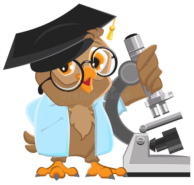 Owl professor in mortarboard holding the microscope stock illustration