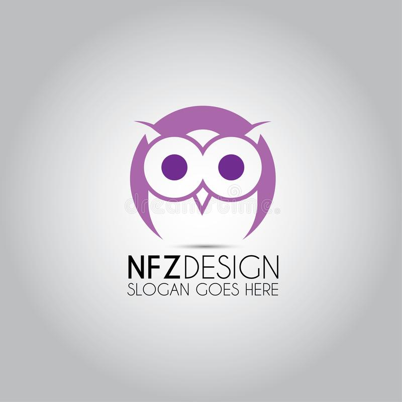 Owl Purple Eye Logo ilustração royalty free