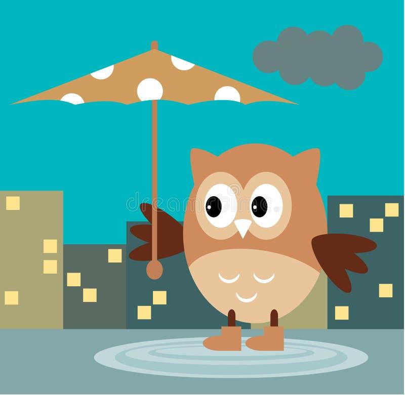 Owl From The Rain Under um guarda-chuva na cidade da noite ilustração royalty free