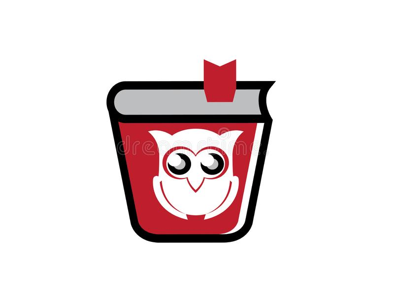 Owl read the book for logo design illustrator, wise icon, education symbol stock illustration