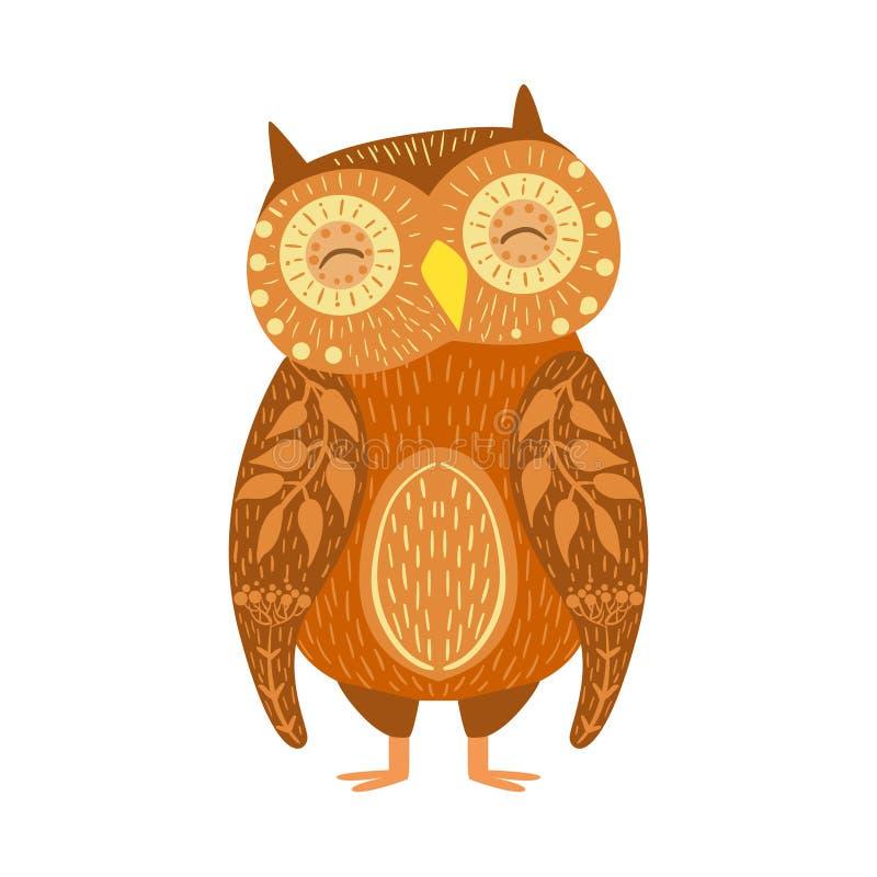 Owl Relaxed Cartoon Wild Animal med stängda ögon som dekoreras med bevekelsegrunder och modeller för Boho Hipsterstil blom- royaltyfri illustrationer
