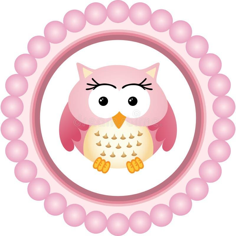 Owl Round Label rose illustration libre de droits