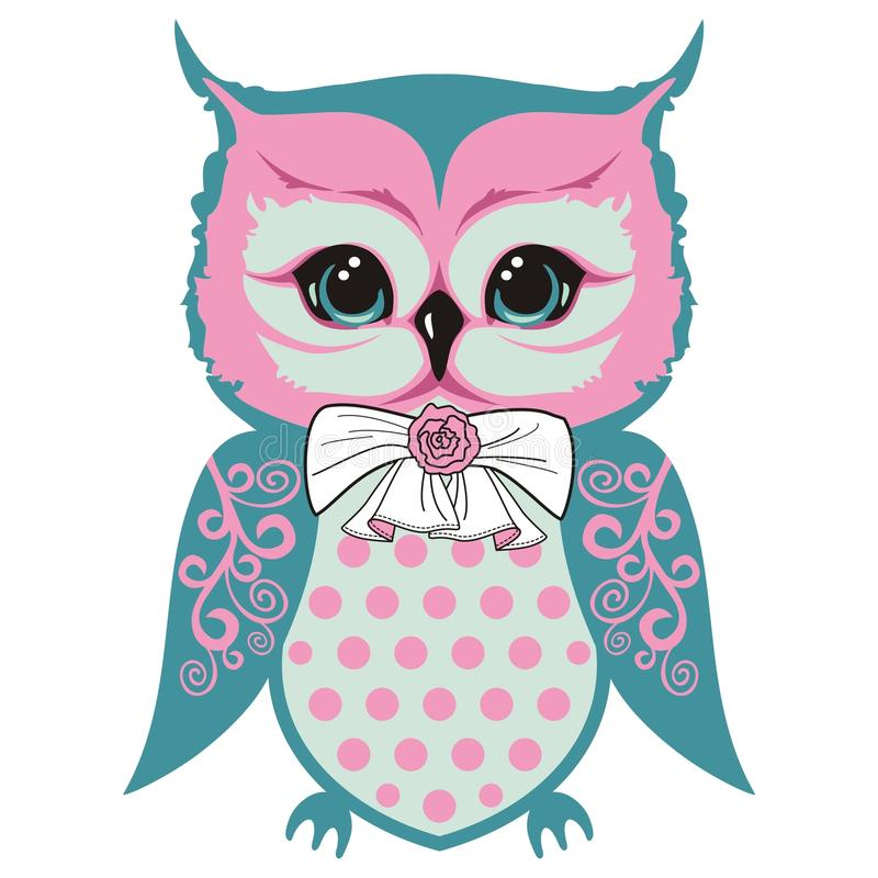 Free Owl`s Cub Is A Small Beautiful Bird With A Bow And A Rose, Wings With Lace Patterns. Royalty Free Stock Photo - 100665725