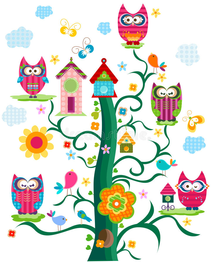 Owl`s tree. Colorful fantasy design for kids royalty free illustration