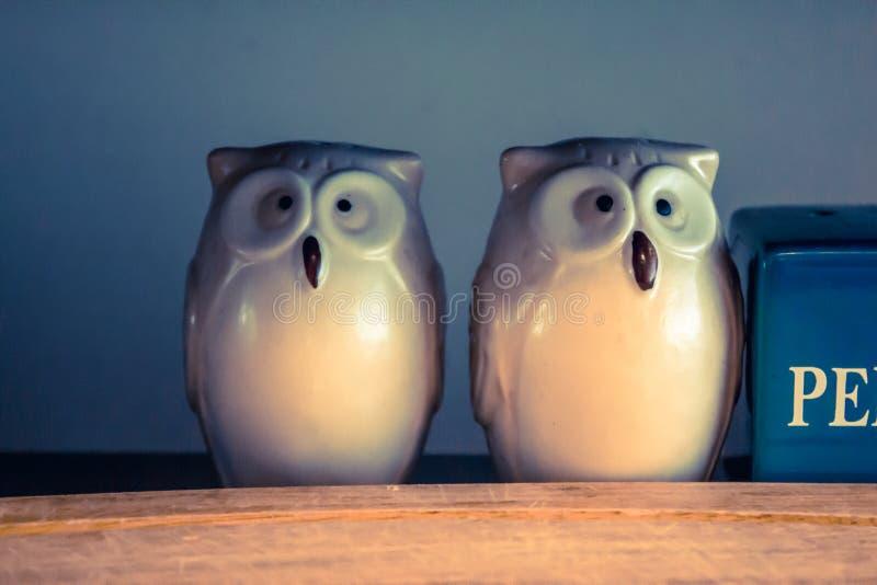 Owl Salt- und Pfeffer-Schüttele-Apparat stockfoto