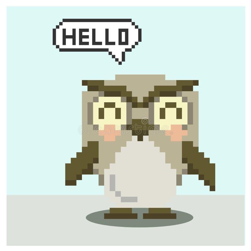 Owl in pixel art. Owl saying hello in pixel art stock illustration