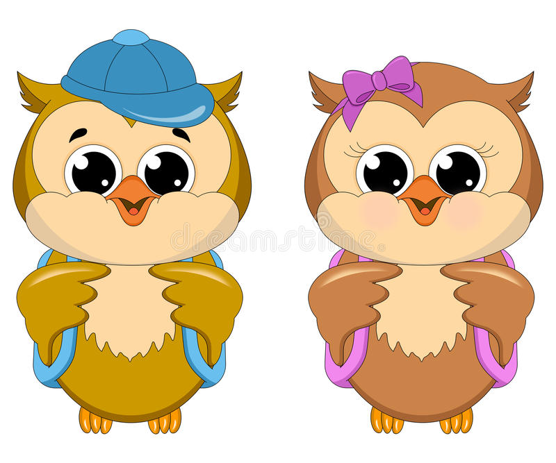 Download Owl School Girl and Boy stock illustration. Image of images - 25977057