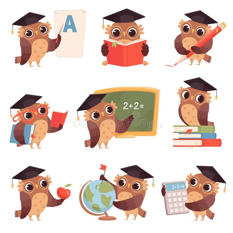 Owl school. Teacher birds characters teaching reading writing owls cartoon collection vector illustration