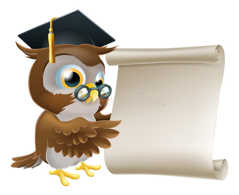 Owl With Scroll Document ilustración del vector