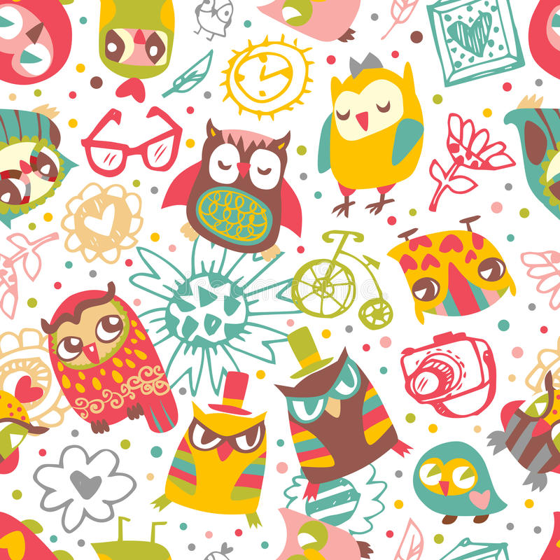 Owl seamless background with flower and fashionable things. Hear royalty free illustration
