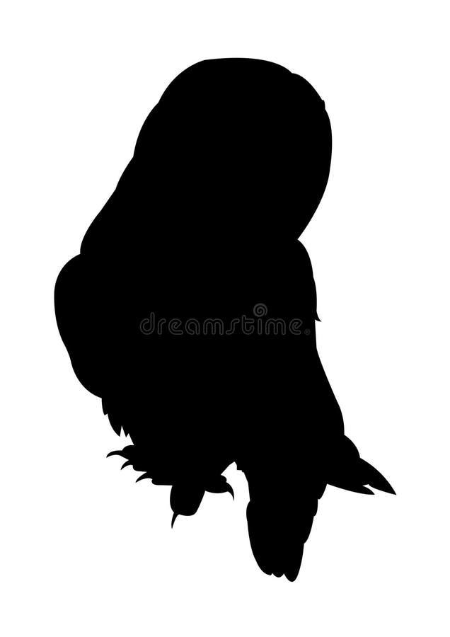 Owl Silhouette sur le fond blanc image stock