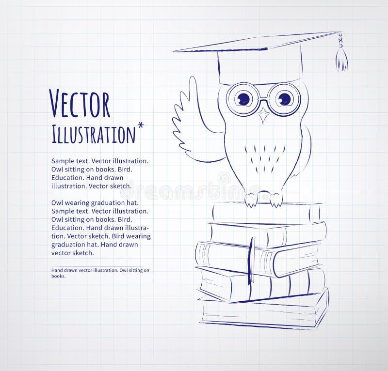 Owl sitting on books royalty free illustration