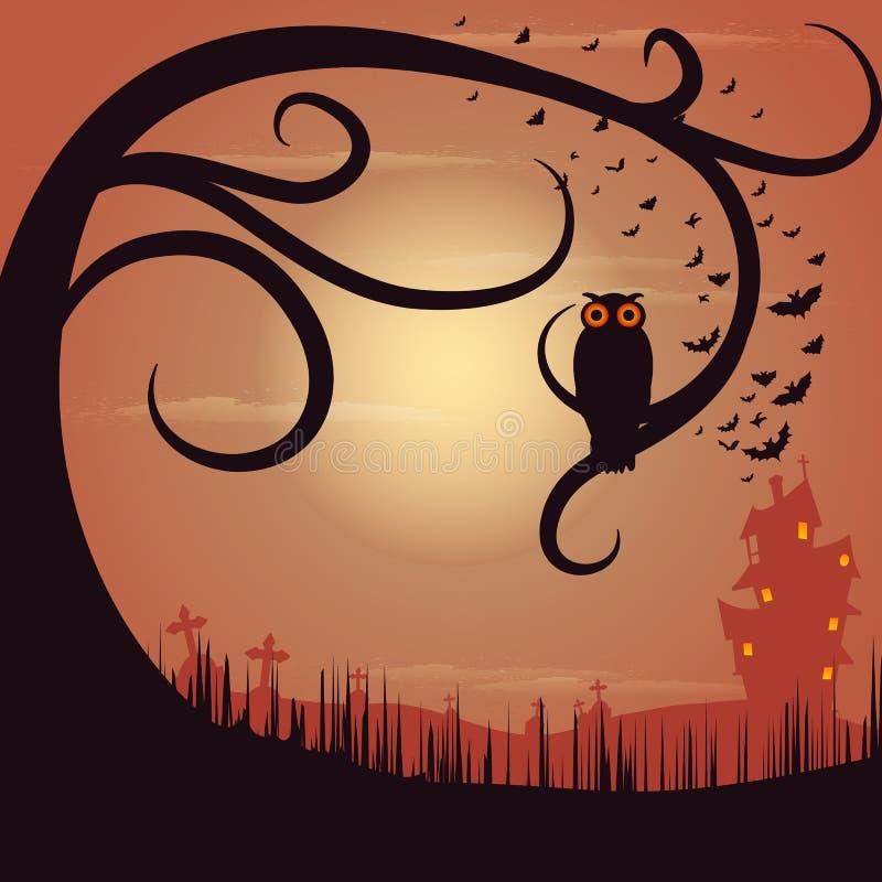 Owl Sitting på träd i allhelgonaaftonnatt vektor illustrationer