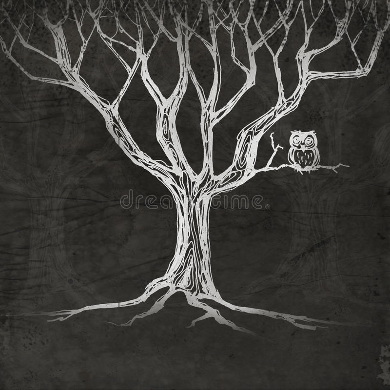 Download Owl sitting on a tree stock illustration. Image of card - 29279199