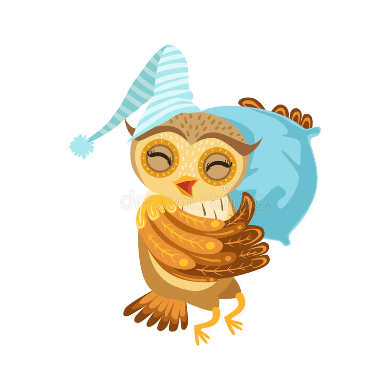 Owl Sleeping Cute Cartoon Character Emoji com Forest Bird Showing Human Emotions e comportamento ilustração royalty free