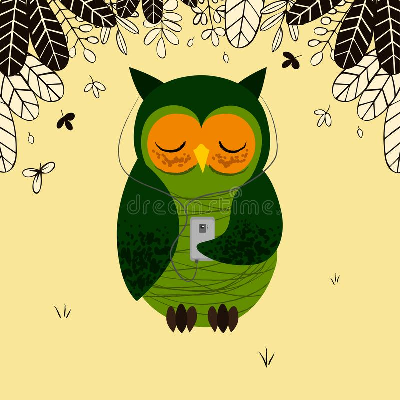Cute green owl with smartphone stock illustration