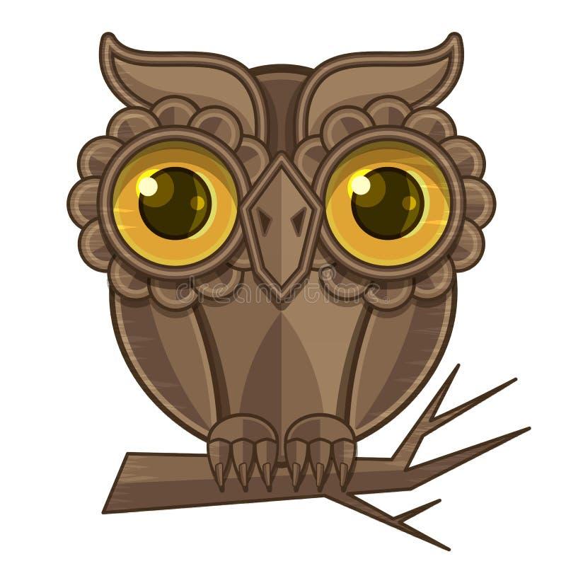 Owl som sitter på en filial stock illustrationer