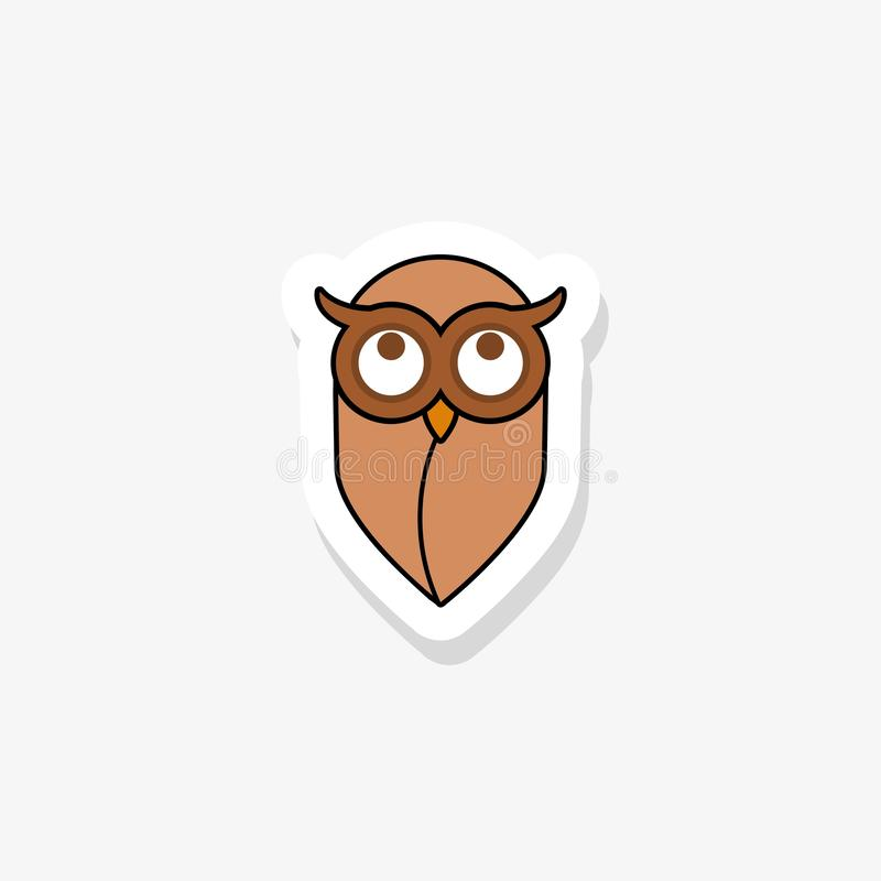 Owl sticker icon in modern flat style for web royalty free illustration