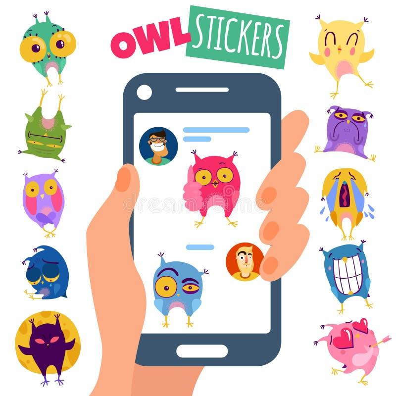 Owl Stikers Illustration illustration libre de droits