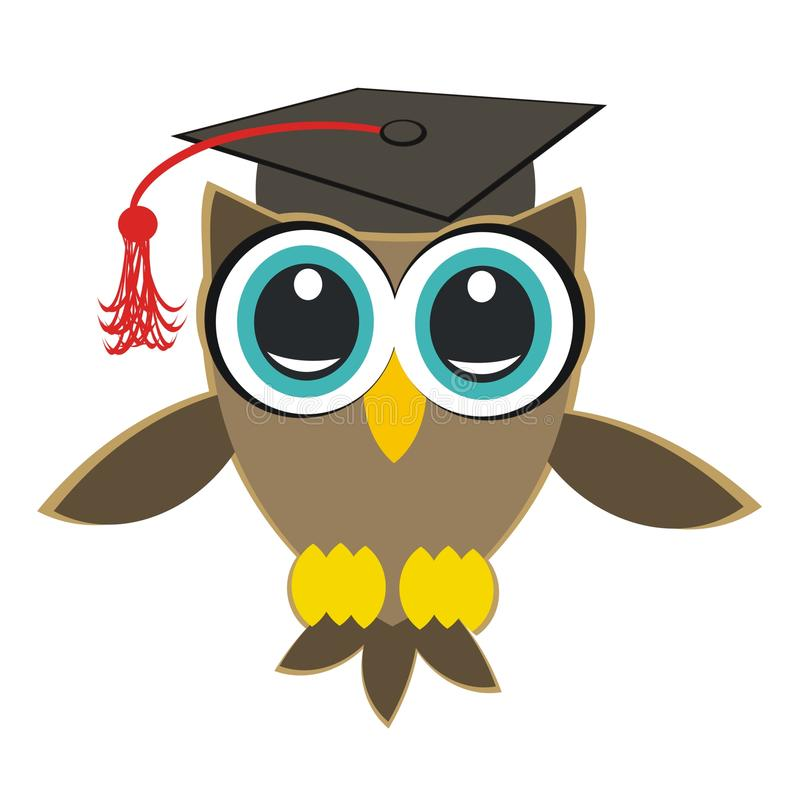 Owl student. Ideal for graduation in college or university, or high school. Also important in life's trials. Ideal for all university degrees: Bachelor, Master stock illustration