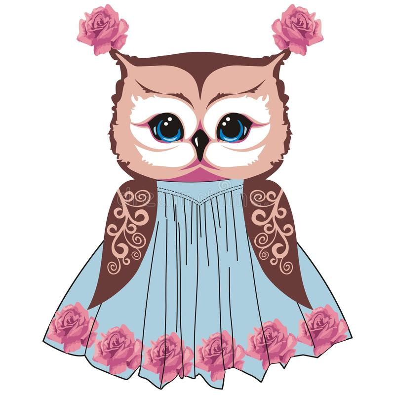 Owl in the style of shabby chic, boho, provence with lace patterns and roses flowers. Fashion print for children`s clothing girls for summer. Vector royalty free illustration