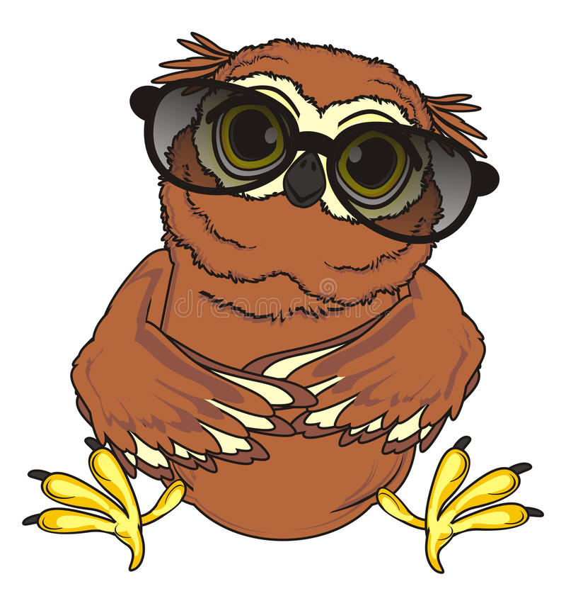 Owl in sunglasses. Funny owl in big black sunglasses sit royalty free illustration