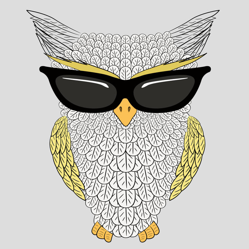 Owl with sunglasses. Vector illustration of owl with sunglasses royalty free illustration